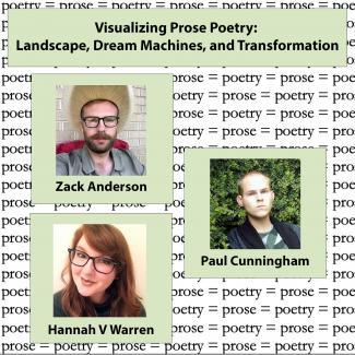 "Images of panel participants with text reading ""prose=poetry"" in the background"