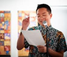 Reading poetry at Kearny St Workshop in San Francisco
